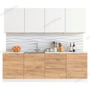 Кухня Mикс Топ-8 ЛДСП 2,4 метра белый/дуб крафт золотой