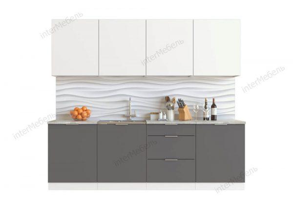 Кухня Mикс Топ-8 ЛДСП 2,4 метра белый/графит серый