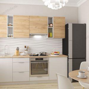Модульная кухня Микс Топ 2,3 метра дуб крафт золотой вудлайн кремовый