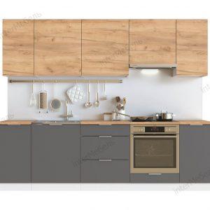 Модульная кухня Mix Top 2,6 метра дуб крафт золотой графит серый.