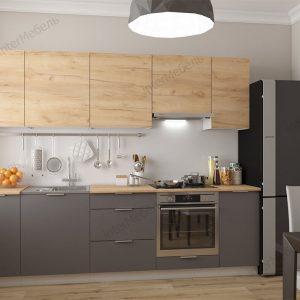 Модульная кухня Mix Top 2,6 метра дуб крафт золотой графит серый в интерьере