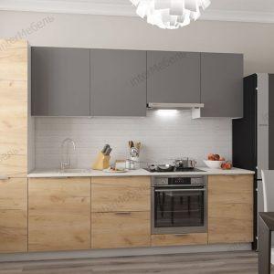 Модульная кухня Mикс Топ ЛДСП 2,8 метра графит серый/дуб крафт золотой