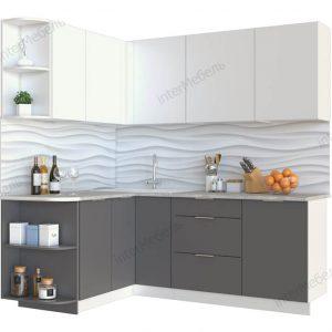 Угловая кухня Mикс Топ-12 ЛДСП 2,6 х 1,5 метра белый/графит серый