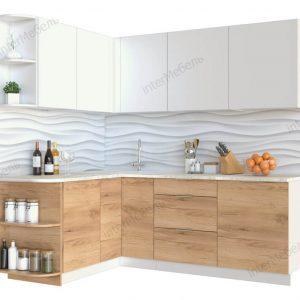 Угловая кухня Mикс Топ-16 ЛДСП 2,7 х 1,6 метра белый/дуб крафт золотой
