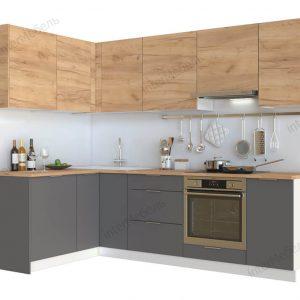 Угловая модульная кухня Mикс Топ ЛДСП 2,5 х 1,52 метра дуб крафт золотой/графит серый