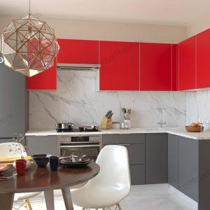 Угловая модульная кухня Mикс Топ ЛДСП 2,5 х 1,52 метра красный/графит серый