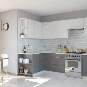 Угловая модульная кухня Mикс Топ ЛДСП 2,6 х 1,5 метра белый/графит серый