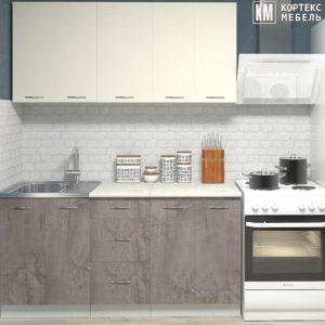 Кухня Корнелия Лира ЛДСП прямая 1,6 метра крем оникс в интерьере