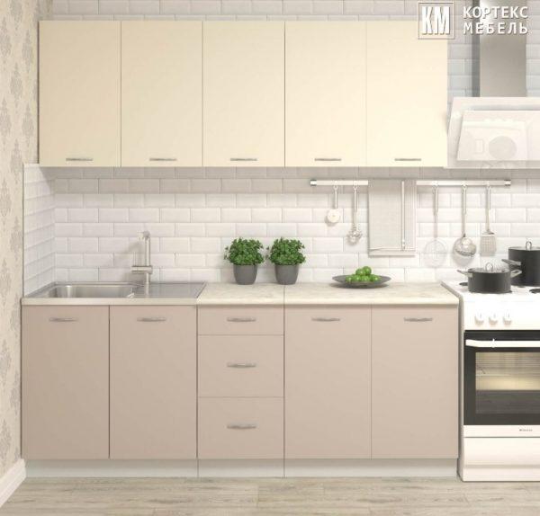 Кухня Корнелия Лира ЛДСП прямая 2,0 метра крем капучино в интерьере