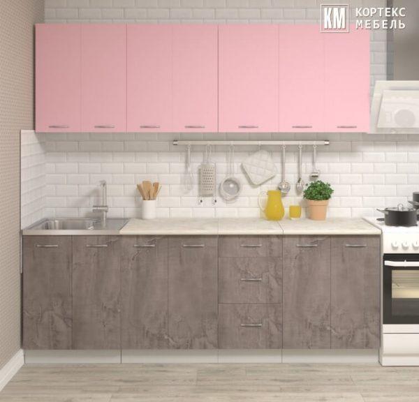 Кухня Корнелия Лира ЛДСП прямая 2,2 метра розовый оникс в интерьере