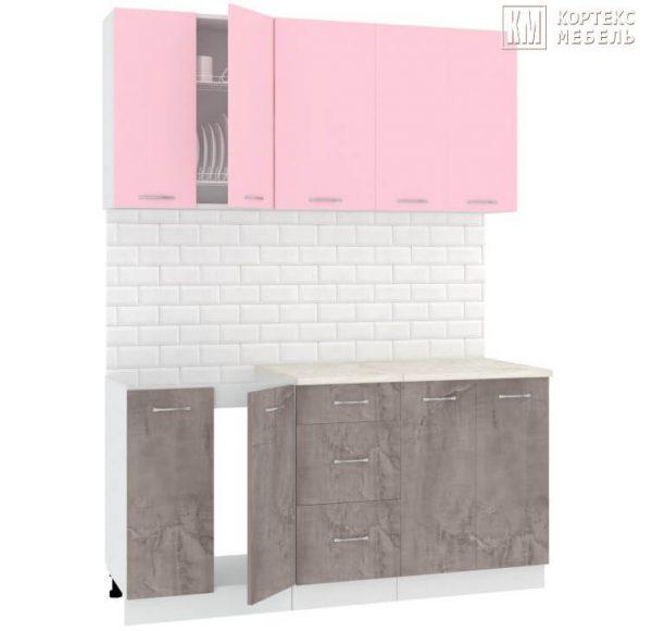 Кухня Корнелия Лира ЛДСП прямая розовый оникс