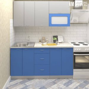 Кухня Корнелия Мара МДФ глянец прямая 1,6 метра серый синий в интерьере