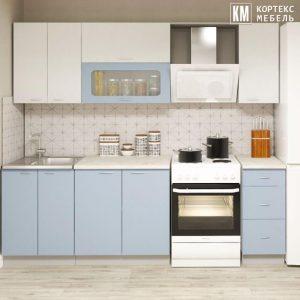 Кухня Корнелия Мара МДФ глянец прямая 1,8 метра белый голубой в интерьере