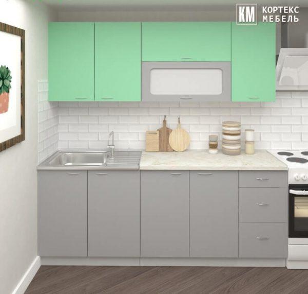 Кухня Корнелия Мара МДФ глянец прямая 2, 0 метра салатовый серый в интерьере