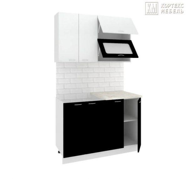 Кухня Корнелия Мара МДФ прямая 1,2 метра белый черный