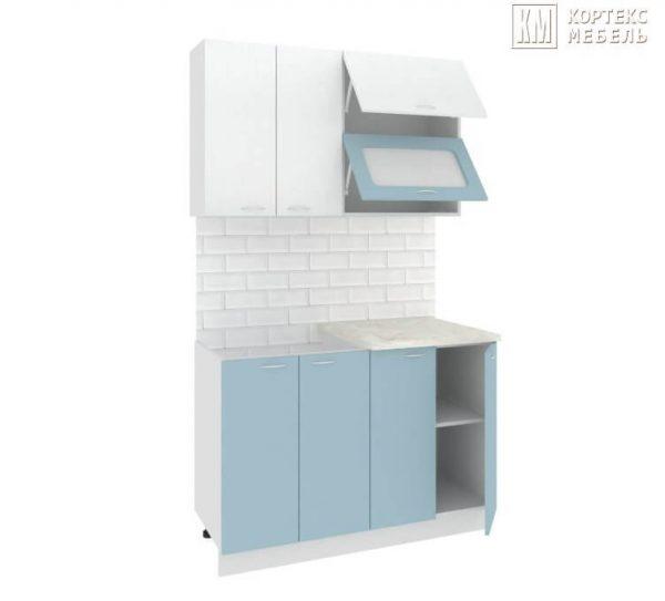 Кухня Корнелия Мара МДФ прямая 1,2 метра белый голубой