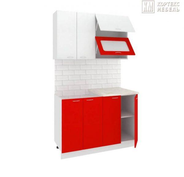 Кухня Корнелия Мара МДФ прямая 1,2 метра белый красный