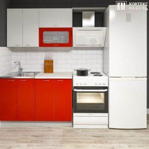 Кухня Корнелия Мара МДФ 1.2 метра белый красный в интерьере