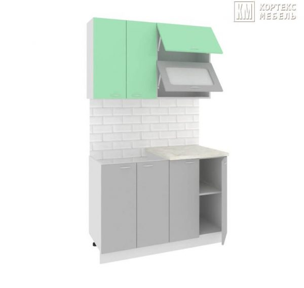 Кухня Корнелия Мара МДФ прямая 1,2 метра салатовый серый