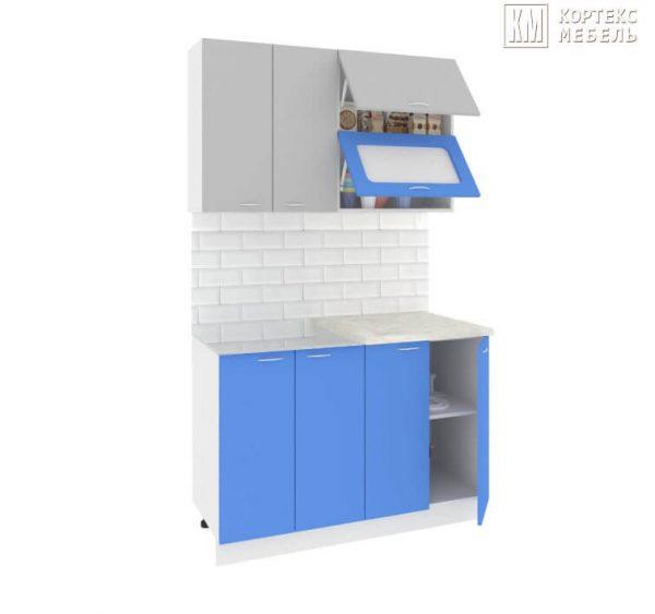Кухня Корнелия Мара МДФ прямая 1,2 метра серый синий