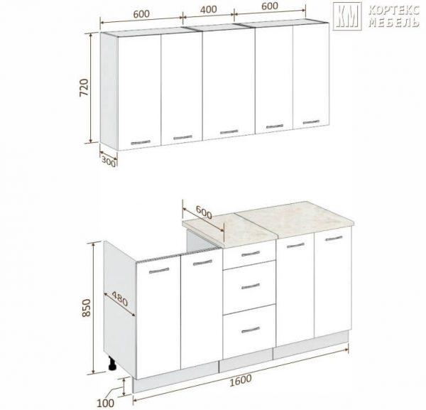 Схема кухни Корнелия Лира 1,6 метра