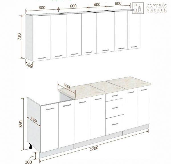 Схема кухни Корнелия Лира 2,2 метра
