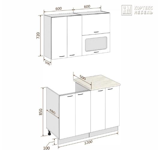 Схема кухни Корнелия Мара МДФ 1,2 метра