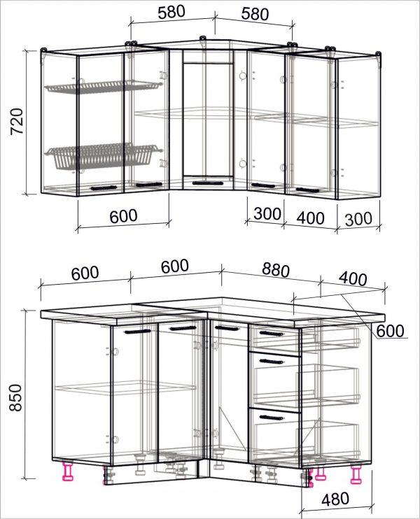 Схема угловой пластиковой кухни Мила 1,2 х 1,3 метра