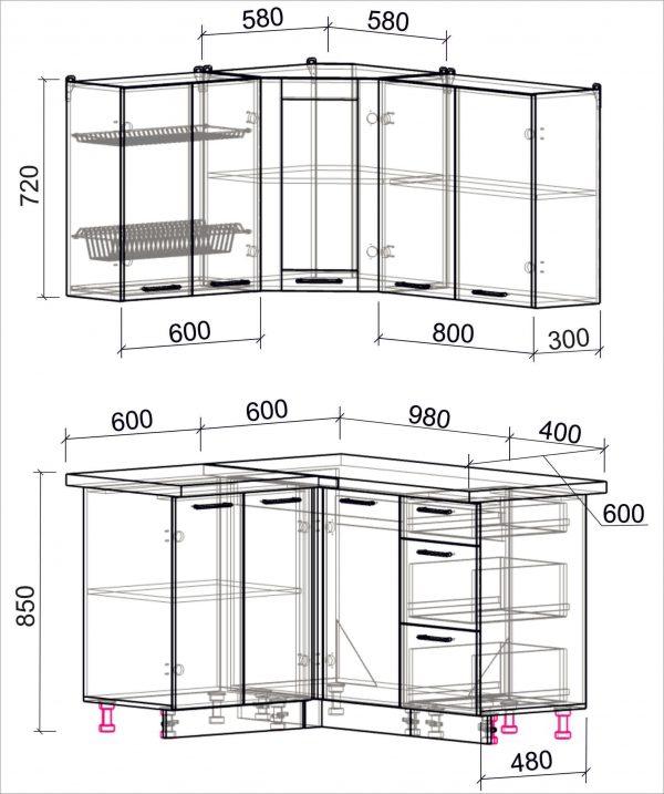 Схема угловой пластиковой кухни Мила 1,2 х 1,4 метра