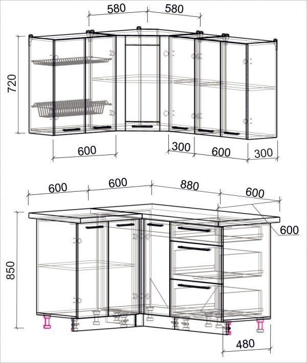 Схема угловой пластиковой кухни Мила 1,2 х 1,5 метра