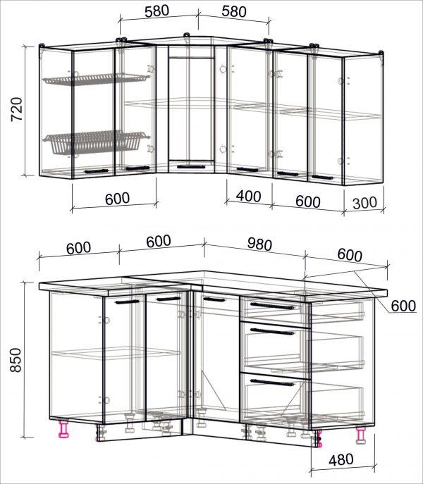 Схема угловой пластиковой кухни Мила 1,2 х 1,6 метра