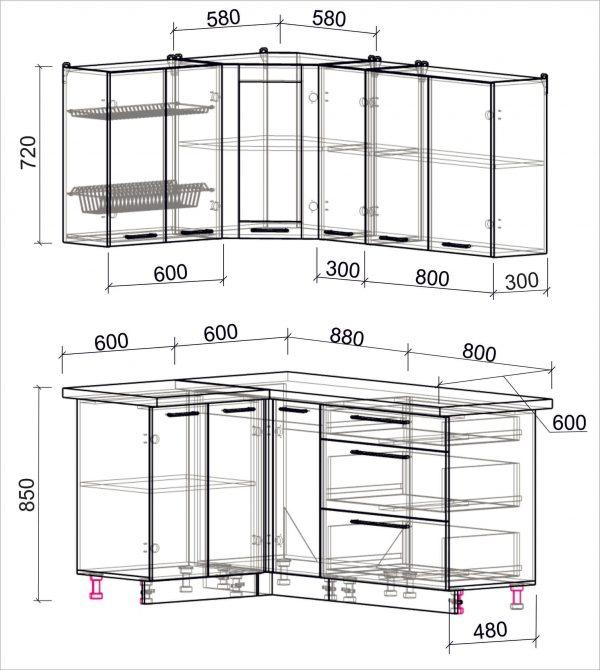 Схема угловой пластиковой кухни Мила 1,2 х 1,7 метра