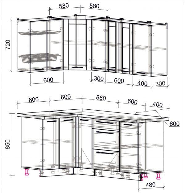 Схема угловой пластиковой кухни Мила 1,2 х 1,9 метра