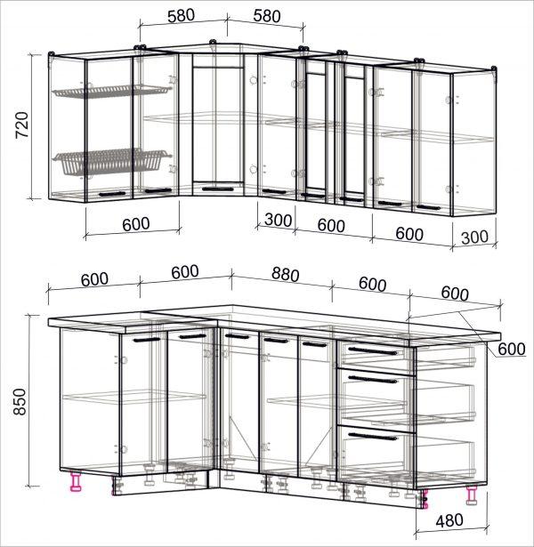 Схема угловой пластиковой кухни Мила 1,2 х 2,1 метра