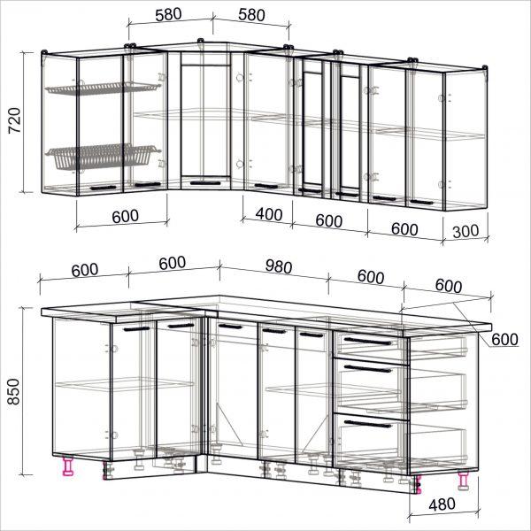 Схема угловой пластиковой кухни Мила 1,2 х 2,2 метра