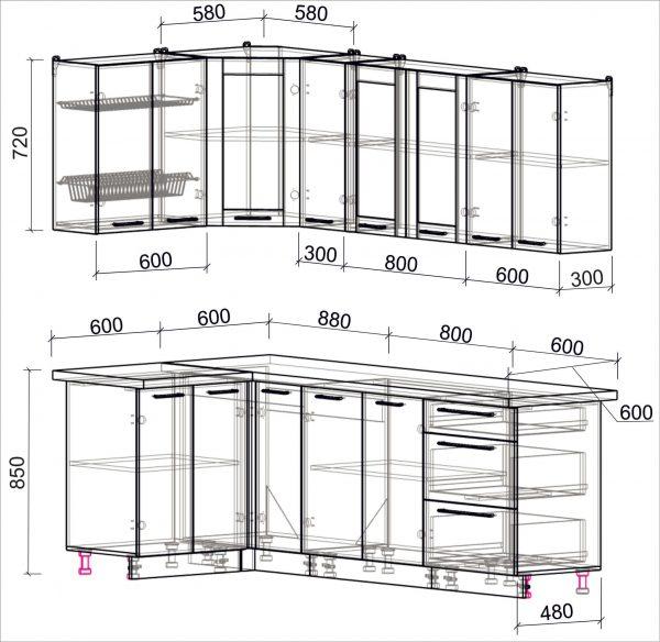 Схема угловой пластиковой кухни Мила 1,2 х 2,3 метра