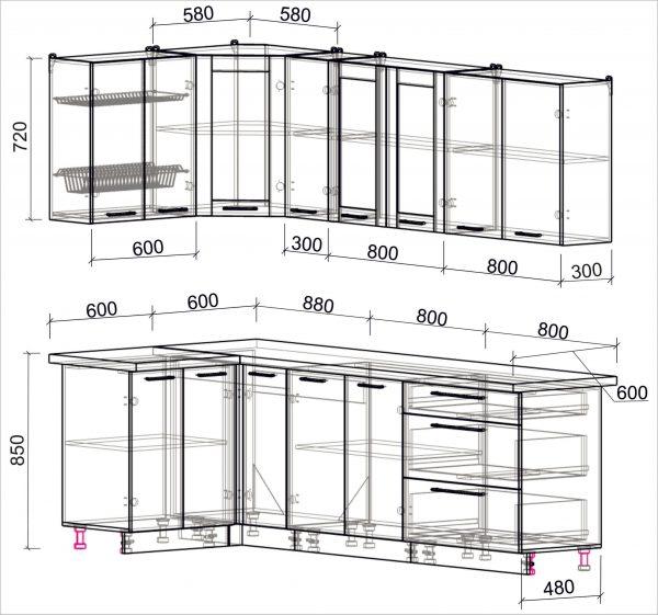 Схема угловой пластиковой кухни Мила 1,2 х 2,5 метра
