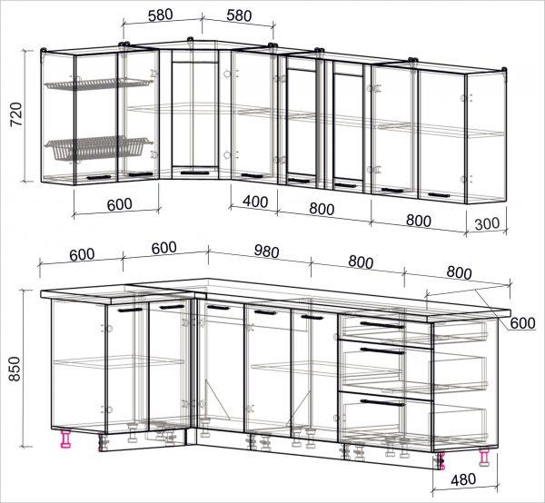 Схема угловой пластиковой кухни Мила 1,2 х 2,6 метра