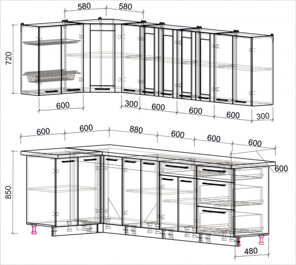 Схема угловой пластиковой кухни Мила 1,2 х 2,7 метра