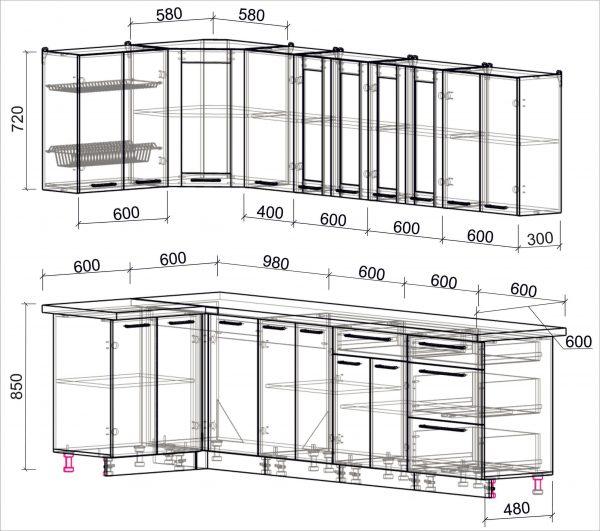 Схема угловой пластиковой кухни Мила 1,2 х 2,8 метра