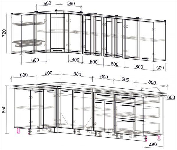 Схема угловой пластиковой кухни Мила 1,2 х 3,0 метра