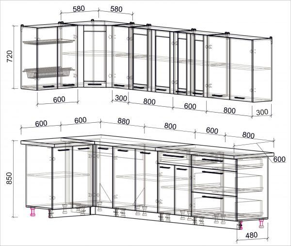 Схема угловой пластиковой кухни Мила 1,2 х 3,1 метра