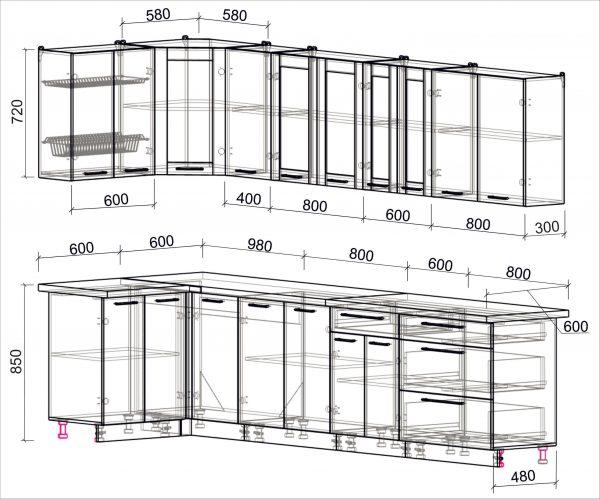 Схема угловой пластиковой кухни Мила 1,2 х 3,2 метра