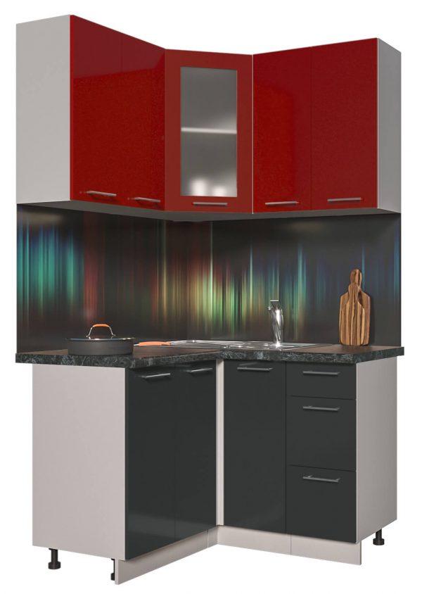 Угловая кухня из пластика Мила 1,2 х 1,2 метра антрацит красный