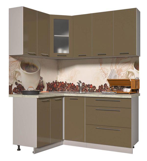 Угловая кухня из пластика Мила 1,2 х 1,8 метра капучино