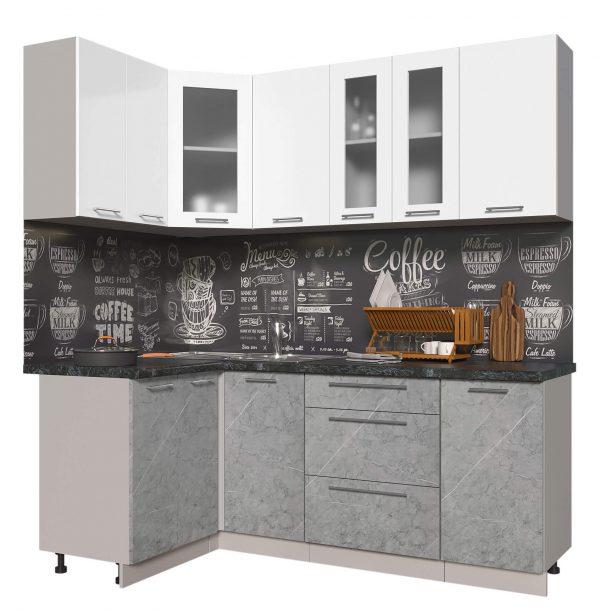 Угловая кухня из пластика Мила 1,2 х 2,0 метра мрамор белый