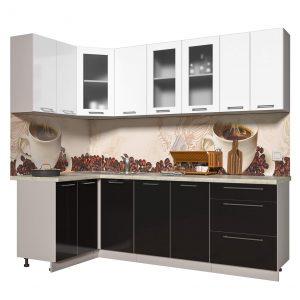 Угловая кухня из пластика Мила 1,2 х 2,4 метра черный белый