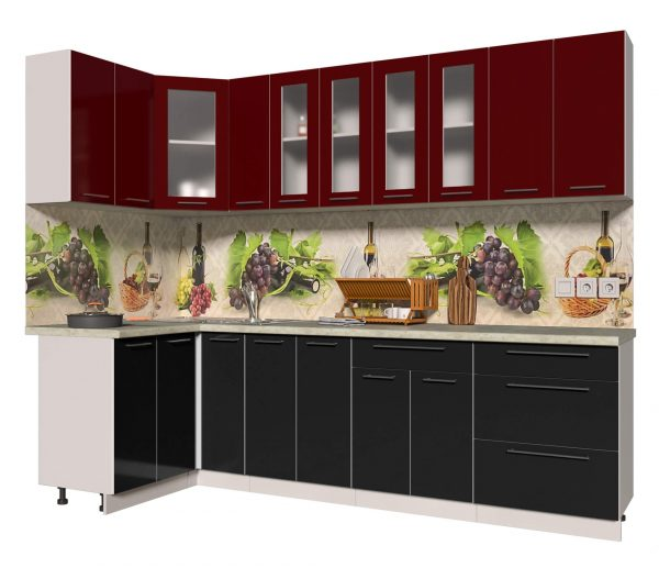 Угловая кухня из пластика Мила 1,2 х 2,7 метра черный бордо
