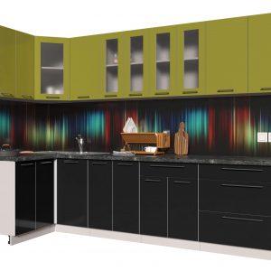 Угловая кухня из пластика Мила 1,2 х 3,0 метра черный оливковый