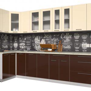 Угловая кухня из пластика Мила 1,2 х 3,2 метра шоколад ваниль
